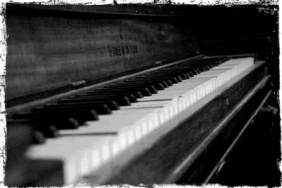 ...the pub's battered, out-of-tune, upright piano.